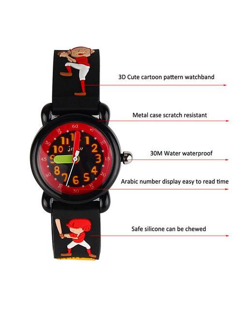 3D Lovely Cartoon Children Watch Silicone Strap Waterproof Digital Round Quartz Wristwatches Time Teacher Gift for Girls Baseball kid - black