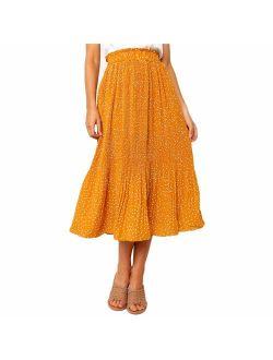 Exlura Womens High Waist Polka Dot Pleated Skirt Midi Swing Skirt with Pockets