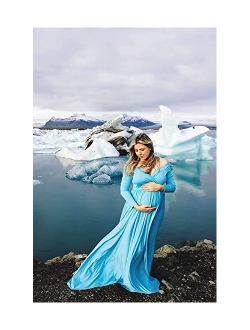 Maternity Off Shoulders Half Circle Gown For Baby Shower Photo Props Dress