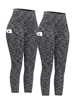 2 Pack High Waist Tummy Control Compression Leggings Yoga Pants With Pockets
