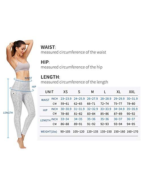 PHISOCKAT 2 Pack High Waist Tummy Control Compression Leggings Yoga Pants with Pockets