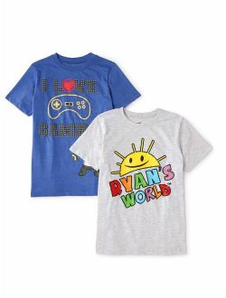 Ryan's World Short Sleeve Graphic T-Shirts, 2-Pack