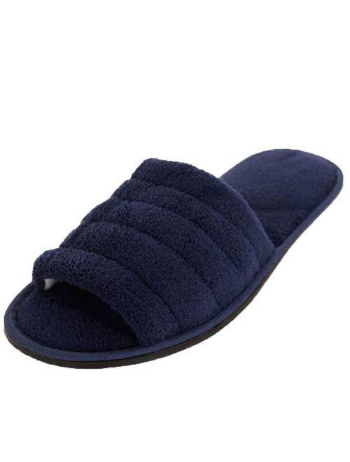 SLM Men's Plush Terry Open Toe Slippers Indoor Slide Slip On