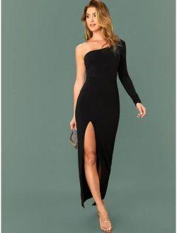One Shoulder Split Thigh Dress