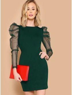 Mesh Leg-of-mutton Sleeve Fitted Dress