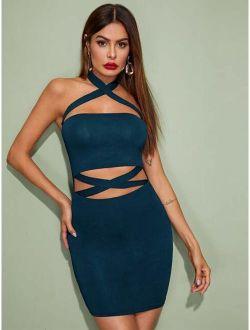 Crisscross Halterneck Cutout Bodycon Dress