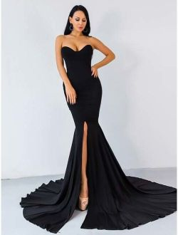 Missord Split Mermaid Hem Floor Length Tube Prom Dress
