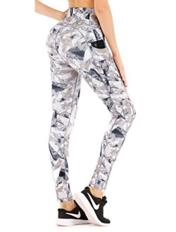 High Waist Yoga Pants With Pockets, Printed Leggings For Women 4 Way Stretch Pattern Yoga Leggings With Pockets