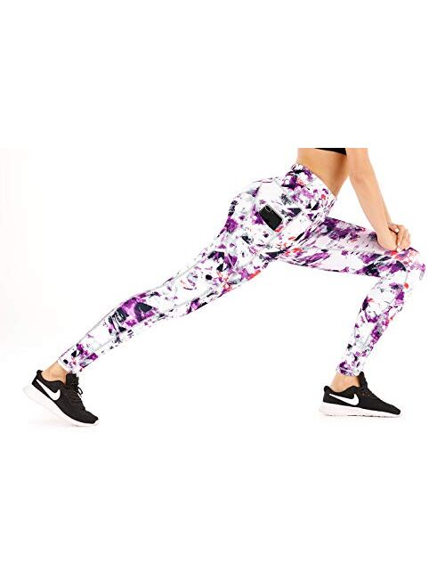 IUGA High Waist Yoga Pants with Pockets, Printed Leggings for Women 4 Way Stretch Pattern Yoga Leggings with Pockets