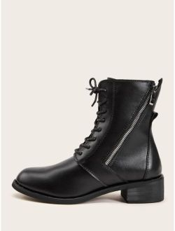 Side Zip Lace-up Front Combat Boots