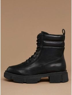 Lace Up Heavy Sole Pull On Combat Boots