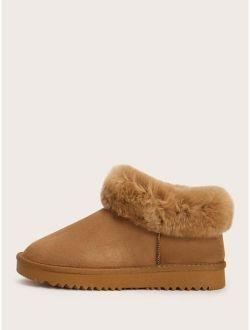 Faux Fur Decor Snow Boots
