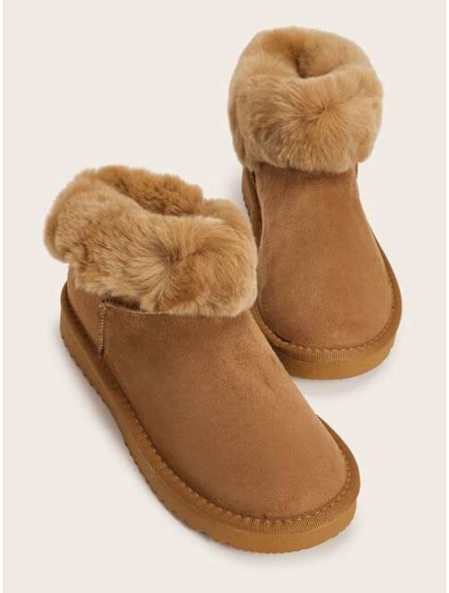 Shein Faux Fur Decor Snow Boots