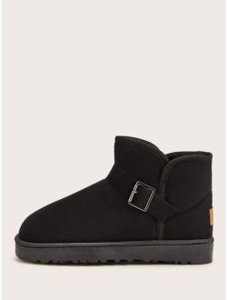 Buckle Decor Faux Fur Lined Ankle Boots