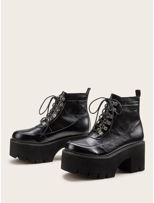 Shein Lace-up Front Platform Chunky Boots