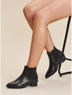 Croc Embossed Chunky Chelsea Boots