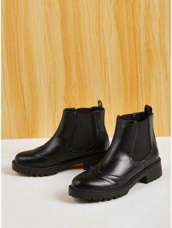 Lug Sole Brogue Chelsea Boots