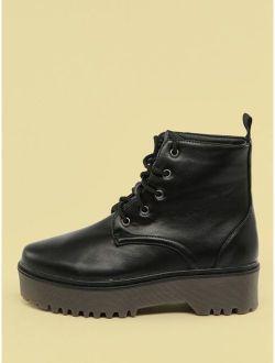 Lace Front Lug Sole Combat Boots