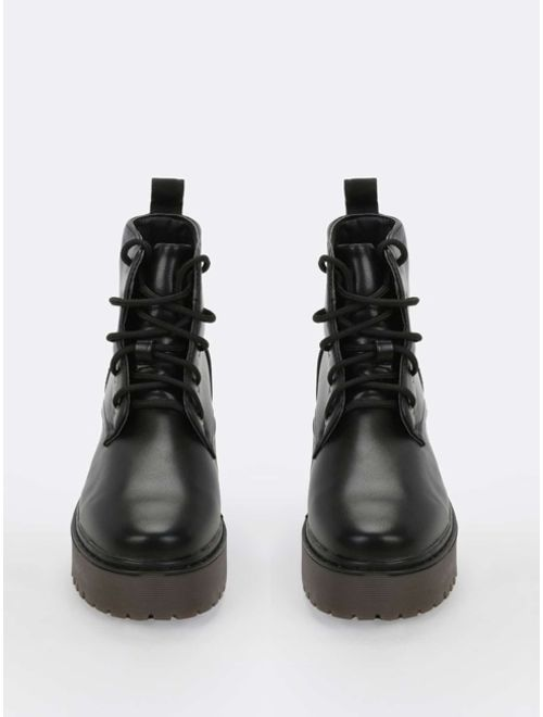 Shein Lace Front Lug Sole Combat Boots