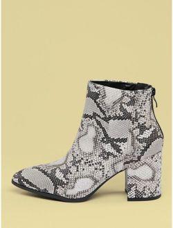 Pointy Toe Block Heel Snakeskin Ankle Boots