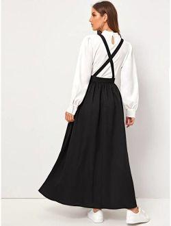 Crisscross Adjustable Strap Fit & Flare Pinafore Dress