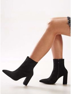 Black Flannel Point Toe Side Zip Chunky High Heel Boots