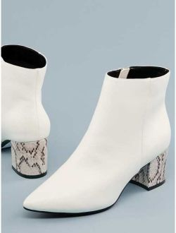 Pointy Toe Snake Block Heel Ankle Boots