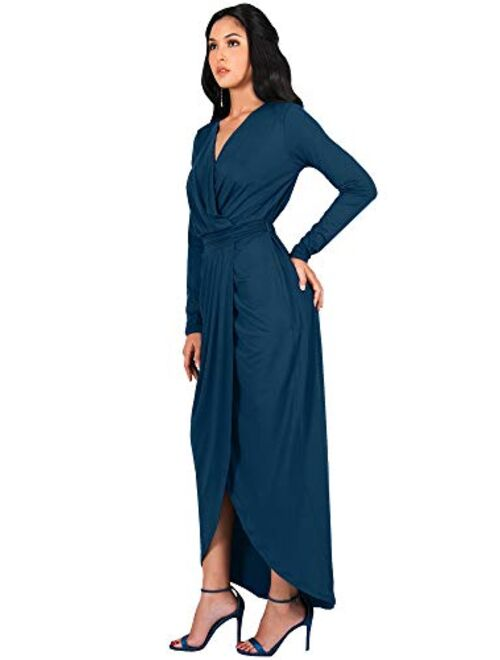 KOH KOH Womens Long Sleeve Formal Wrap Draped Cocktail V-Neck Gown Maxi Dress