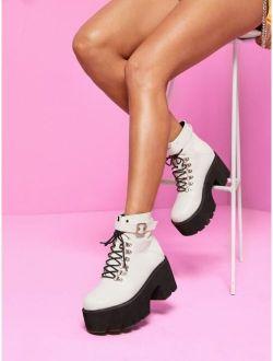 Lace-up Front Buckle Strap Platform Ankle Boots