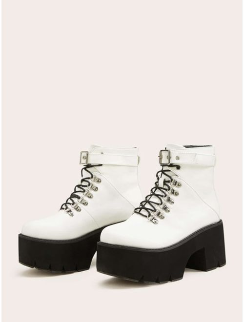 Shein Lace-up Front Buckle Strap Platform Ankle Boots