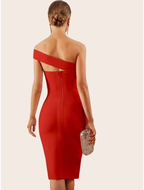 Shein Adyce Solid One Shoulder Split Thigh Pencil Dress