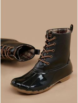 Lace Front Plaid Lining Cold Weather Boots