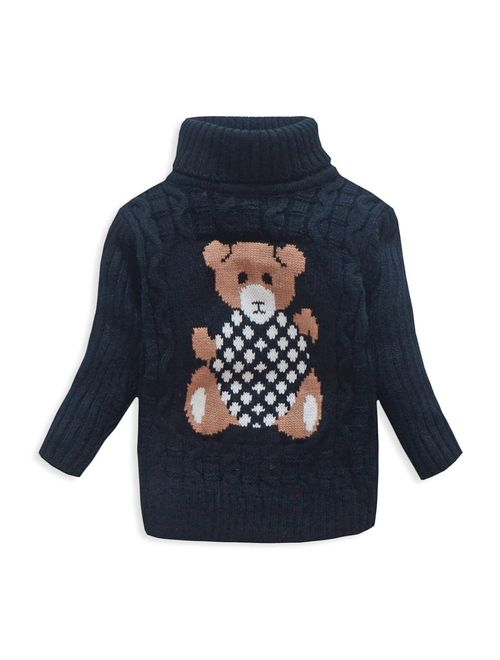 VIFUUR Kids Bear Turtleneck Sweater Boys Girls Knit Sweater for Christmas