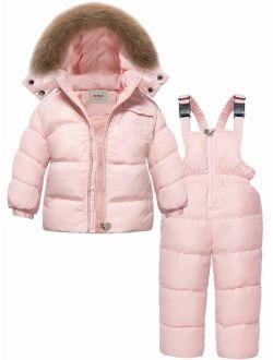 ZOEREA Girls Winter Snowsuit, Children Clothing Sets Winter Hooded Duck Down Jacket + Trousers Snowsuit for Boys Unisex Baby
