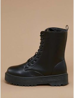 Lace Front Heavy Lug Sole Combat Boots