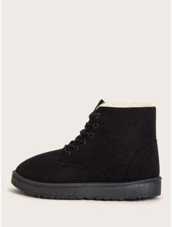 Faux Fur Lined Lace-up Front Suede Boots