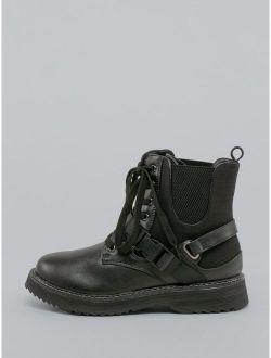 Lace Front Side Gore Buckle Detail Combat Boots