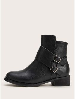 Double Buckle Decor Side Zip Chunky Boots