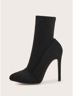 Black Polyester Point Toe Stiletto Sock High Heel Boots