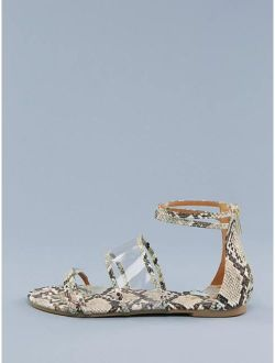 Snake Print Detail Clear Bands Flat Sandals