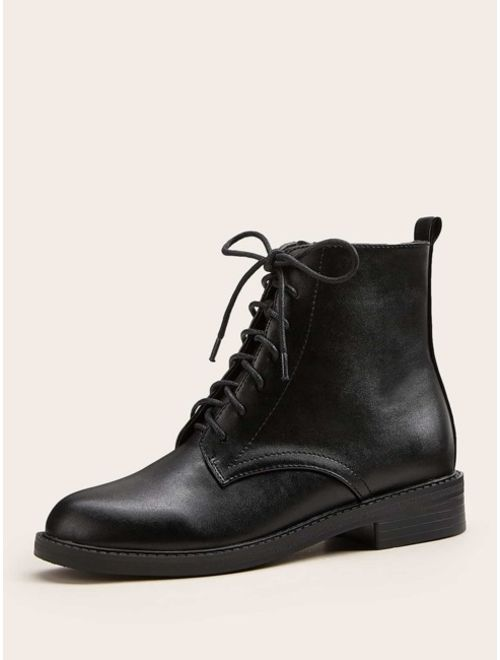 Shein Lace-up Front Side Zip Combat Boots