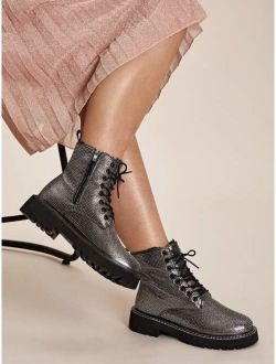Rhinestone Decor Side Zip Combat Boots