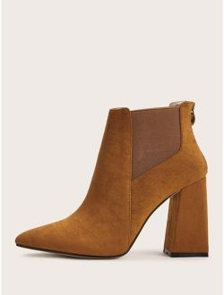 Point Toe Zip Back Chunky Heeled Suede Boots