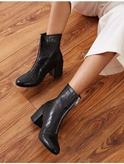 Croc Embossed Zip Front Chunky Boots