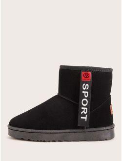 Letter Patch Decor Faux Fur Lined Ankle Boots