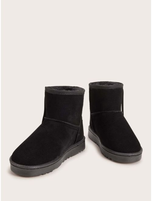 Shein Letter Patch Decor Faux Fur Lined Ankle Boots