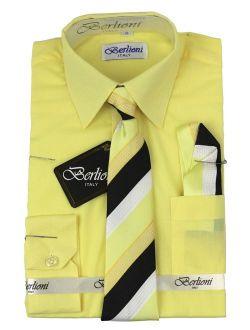 Kids Boys Long Sleeve Dress Shirt With Tie And Hanky Lemon