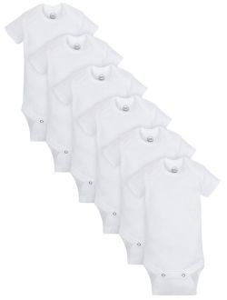 Short Sleeve White Bodysuits, 6pk (baby Boys Or Baby Girls, Unisex)