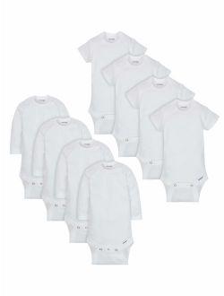 Onesies Brand White Onesies Bodysuits Variety Short Sleeve & Long Sleeve, 8pk (Baby Boy or Baby Girl Unisex)