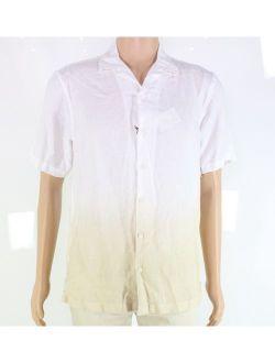 Mens Shirt Large Button Down Ombre Linen L